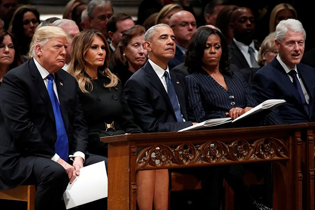photo of president trump, first lady melania trump, former president barack obama and former first lady michelle obama and former president bill clinton at george hw bush funeral