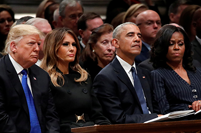 photo of president trump, first lady melania trump, former president barack obama and former first lady michelle obama at george hw bush funerl