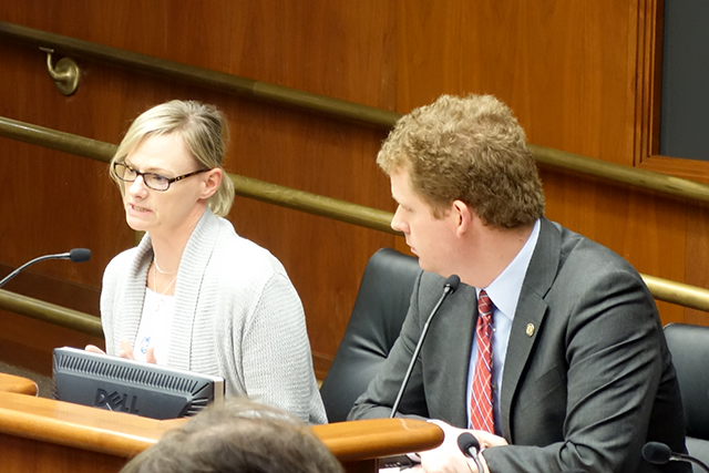 TSA employee Celia Hahn, left, testifying in favor of House File 319 on Tuesday. Next to her is bill sponsor state Rep. Zack Stephenson.