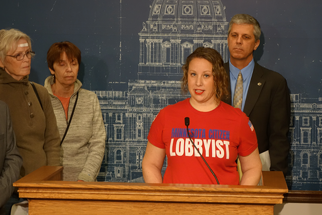 Elizabeth Bangert of St. Peter spoke at a press conference following her testimony before the Rules Committee.