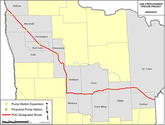 Enbridge Line 3, Public Utilities Commission designated route
