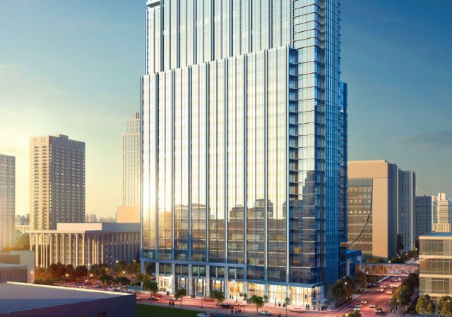 rendering of large building in downtown minneapolis