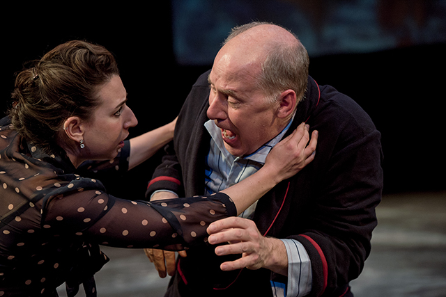 """Miriam Schwartz and Craig Johnson in a scene from the Gremlin Theatre production of """"The Father."""""""