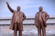 Statues of Kim Il-Sung and his son and successor, Kim Jung-Il