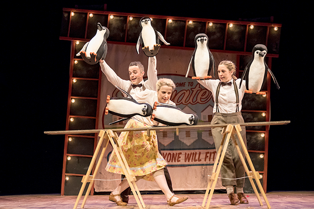 """Christopher Finn, Monica Nash and Susanna Jennings in """"Mr. Popper's Penguins."""""""