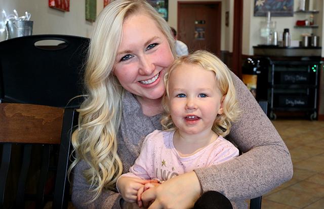 Rachel Pierce, shown with daughter Aria