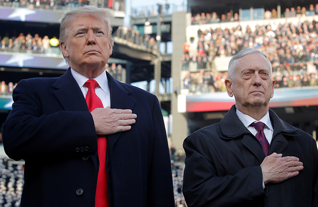 """Instead of allowing Defense Secretary Jim Mattis, right, to serve until the end of February, President Donald Trump moved his departure up to Jan. 1 and said he had """"essentially fired"""" Mattis."""