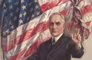 historic illustration of man standing in front of american flag