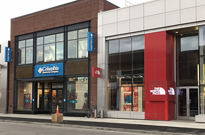 photo of storefronts for columbia and the north face