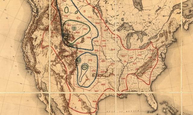 map showing bison range