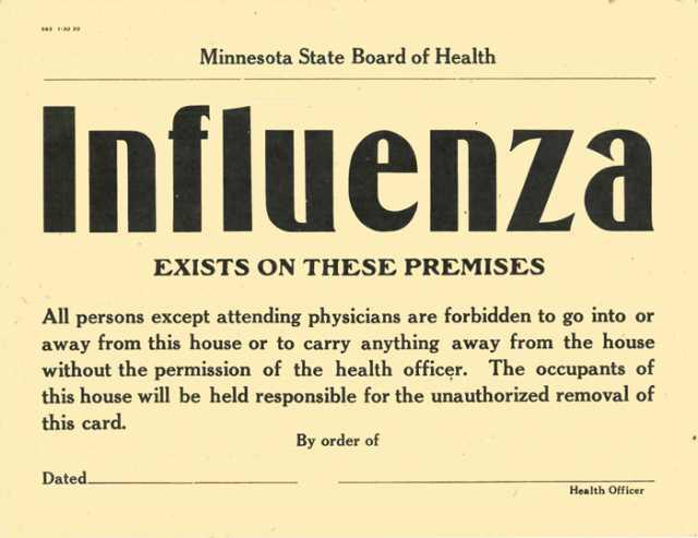 historical notice of flu quarantine