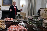 president trump in white house with fast food