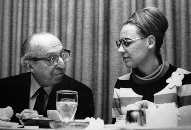 Mary Ann Feldman, right, with composer Aaron Copland circa early 1970s.