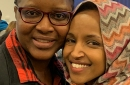 Rep. Ilhan Omar, right, and Linda Clark