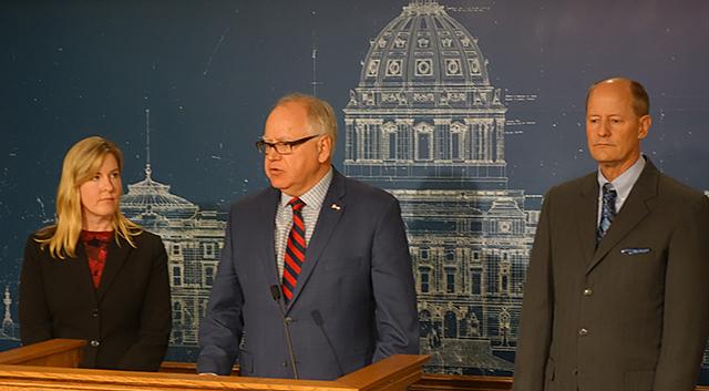 Speaker of the House Hortman, Gov. Tim Walz and Senate Majority Leader Paul Gazelka