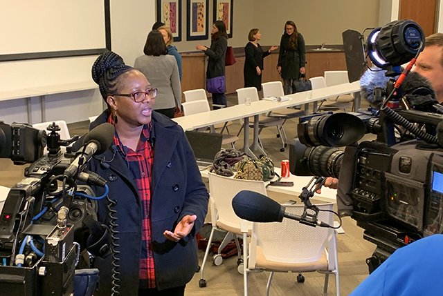 Linda Clark told her story to the media after an immigration roundtable discussion Tuesday afternoon in downtown Minneapolis.