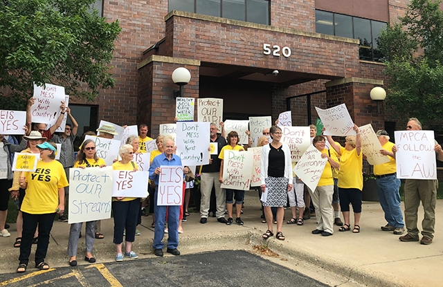 Supporters of an environmental impact statement rallied outside an MPCA press conference on July 3.