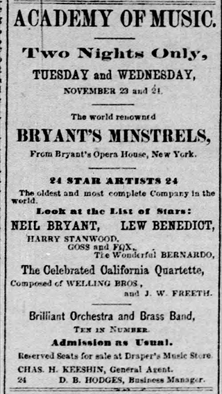 A minstrel show advertisement that ran on page one of the Minneapolis Tribune on Sunday, November 21, 1875.