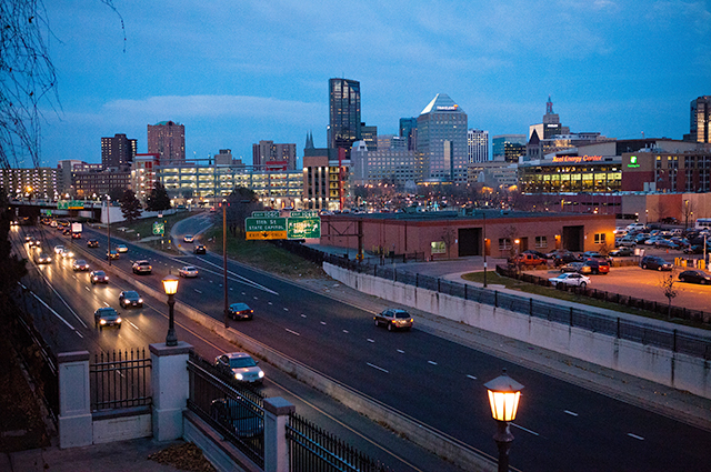Downtown St. Paul and 35E at dusk