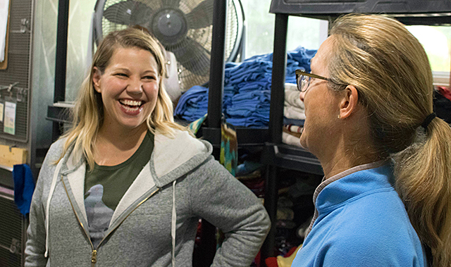 Tara Smith chatting with Wildwoods volunteer Lisa Plachta.
