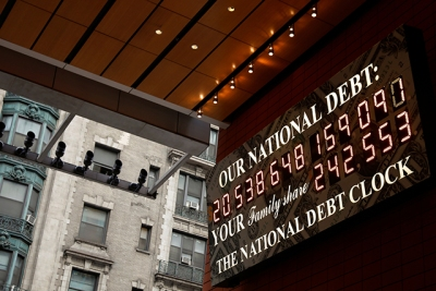 photo of national debt clock sign