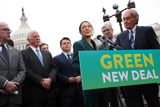 photos of representatives introducing green new deal