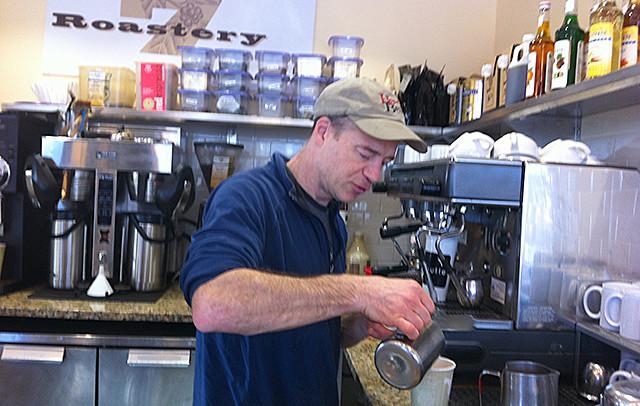 Dan Swenson-Klatt preparing a drink at his Butter Bakery Café.