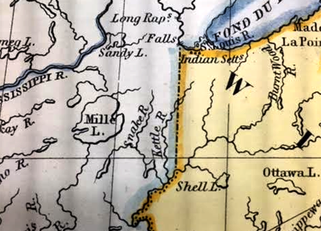 The rapids — marked with hashmarks — are visible near a Native American settlement on the St. Louis River.