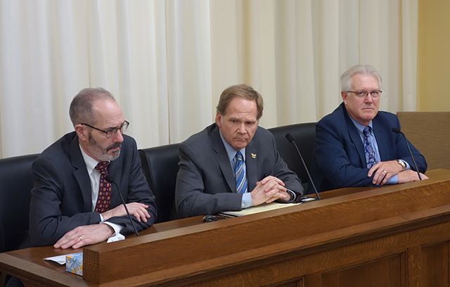State Rep. Tim Mahoney, Tom Whaley of the Saints, and Bill McCarthy of the AFL-CIO speaking before the House Labor Committee.