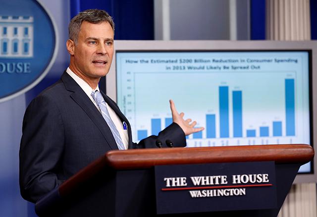 photo of alan krueger speaking at lectern