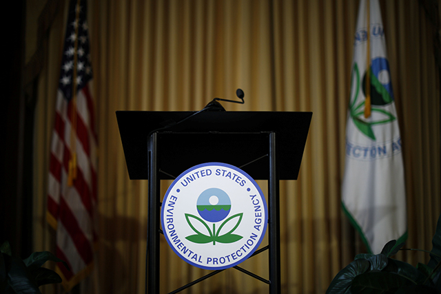 photo of empty lectern with EPA logo
