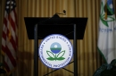 photo of empty lectern featuring logo of EPA