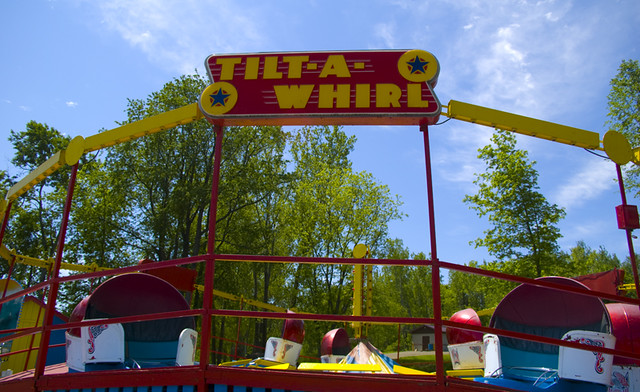 photo of tilt-a-whirl ride at fair