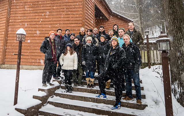 The Adam Meckler Orchestra, shown outside of Pachyderm Studios where they recorded their new CD.