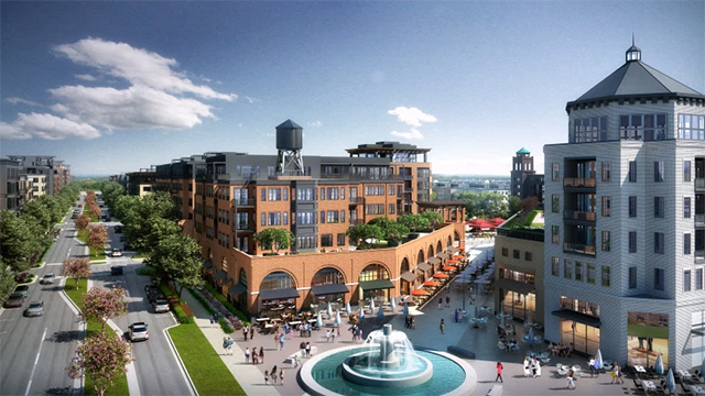 A design rendering for part of the plan for the former Ford Twin Cities auto plant in Highland Park.