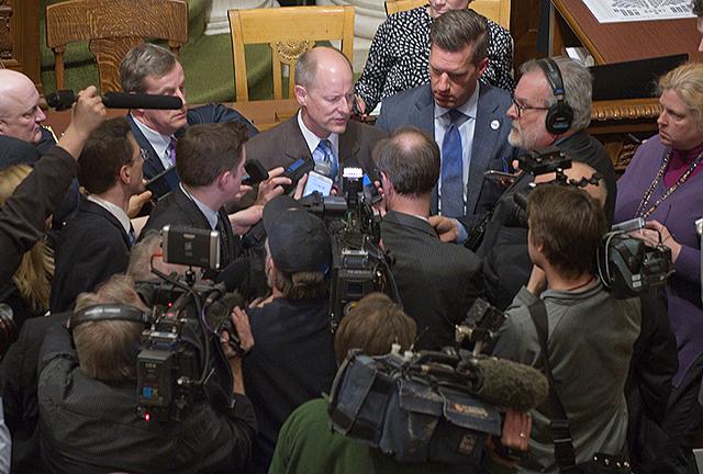 Senate Majority Leader Paul Gazelka, left, and House Minority Leader Kurt Daudt, right