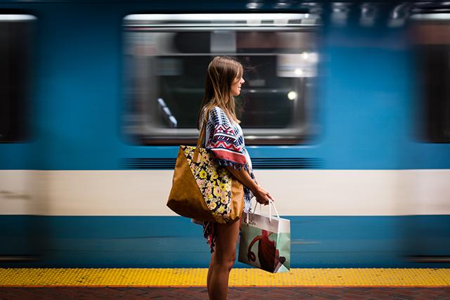 pregnant woman commuting