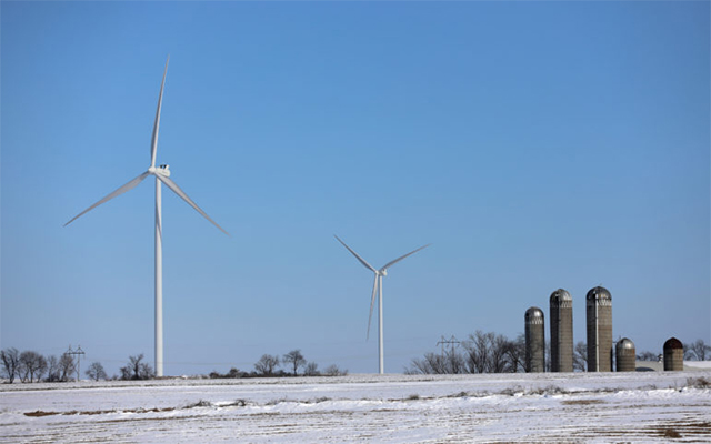 Wind turbines are seen in the town of Seymour, Wisconsin, in Lafayette County near the Illinois border on Feb. 15.