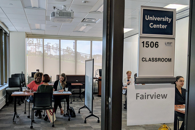 A surge hiring event held at Saint Paul College in 2018.