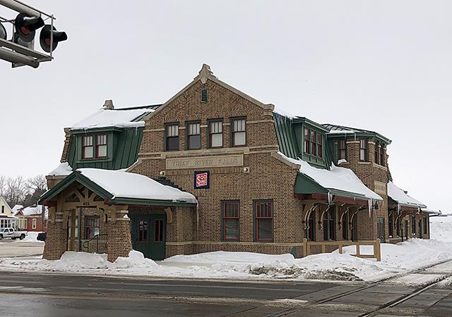 Thief River Falls City Hall, a converted Soo Line depot.