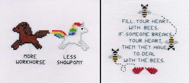 Cross-stitch by Wone Vang and Youa Vang.