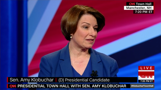 screen shot of sen. amy klobuchar participating in town hall