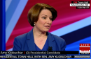 screen shot of amy klobuchar during town hall