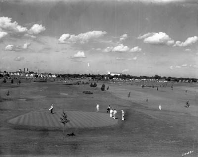 An aerial image of Hiawatha Golf Course from 1935.
