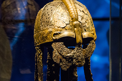 A helmet from the Vikings Begin exhibition