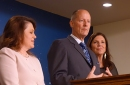Senate Majority Leader Paul Gazelka, flanked by state Sen. Michelle Benson and state Sen. Julie Rosen