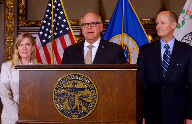 House Speaker Melissa Hortman, Gov. Tim Walz, and Senate Majority Leader Paul Gazelka