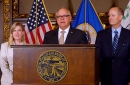 House Speaker Melissa Hortman, Gov. Tim Walz, and Senate Majority Leader Paul Gazelka