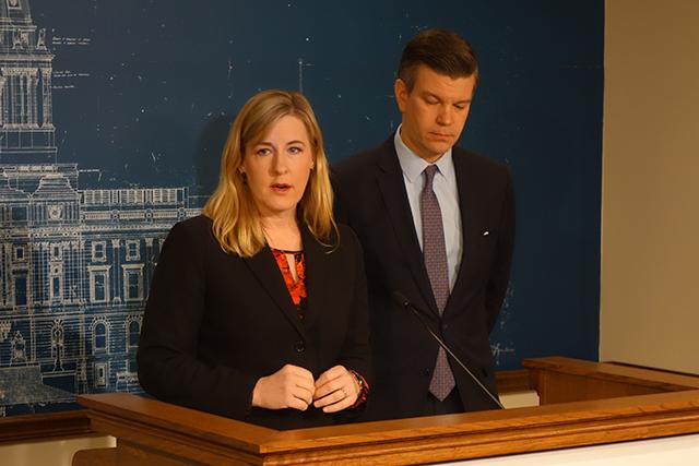 Minnesota House Speaker Melissa Hortman, left with House Majority Leader Ryan Winkler