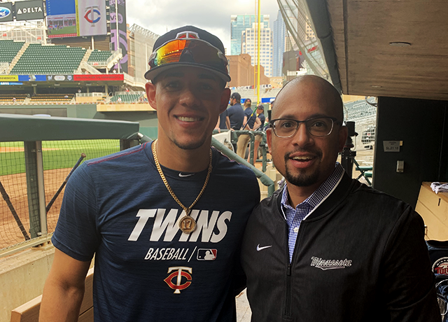 Twins Puerto Rican-born ace Jose Berrios and translator/communications assistant Elvis.